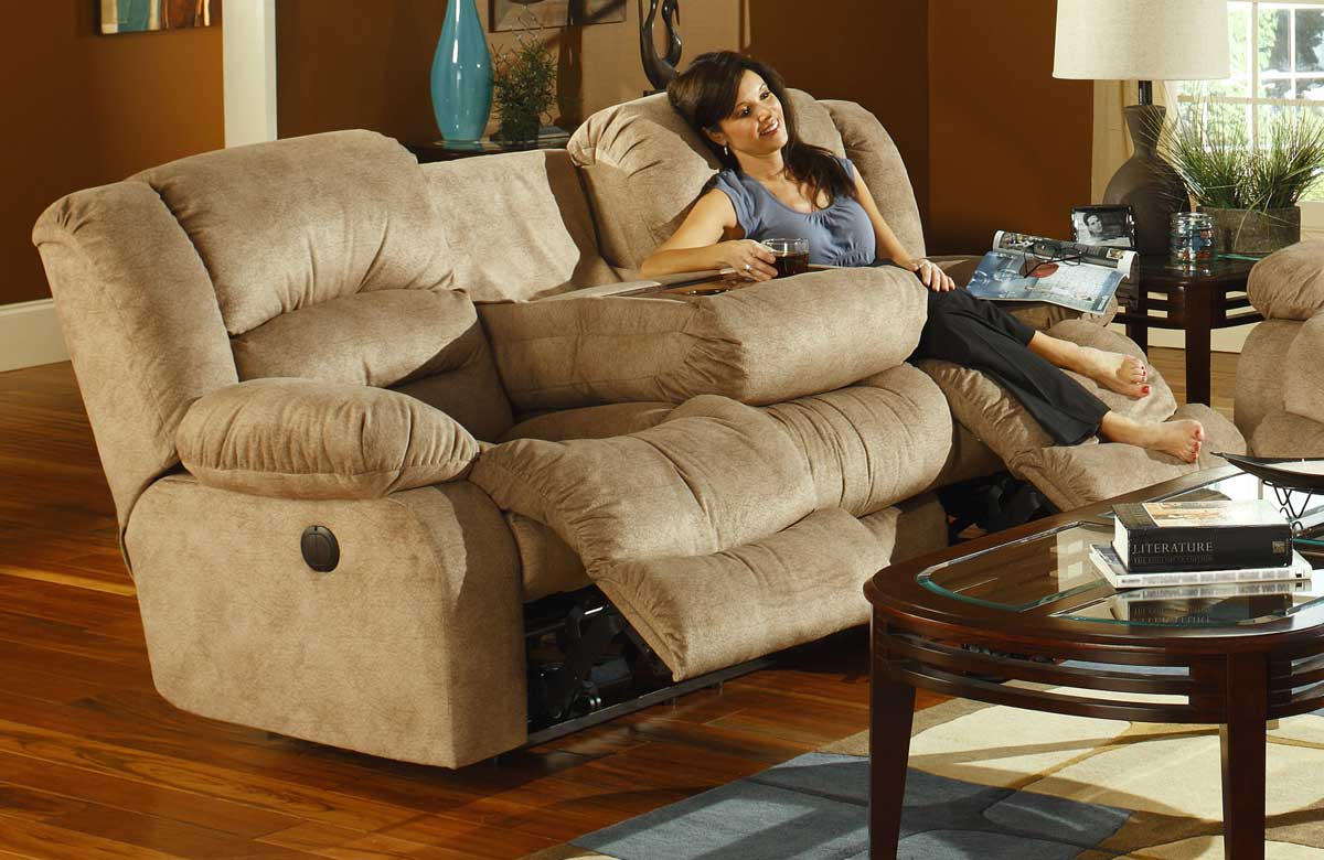 CatNapper Summit Dual Reclining Sofa With Burl Drop Down