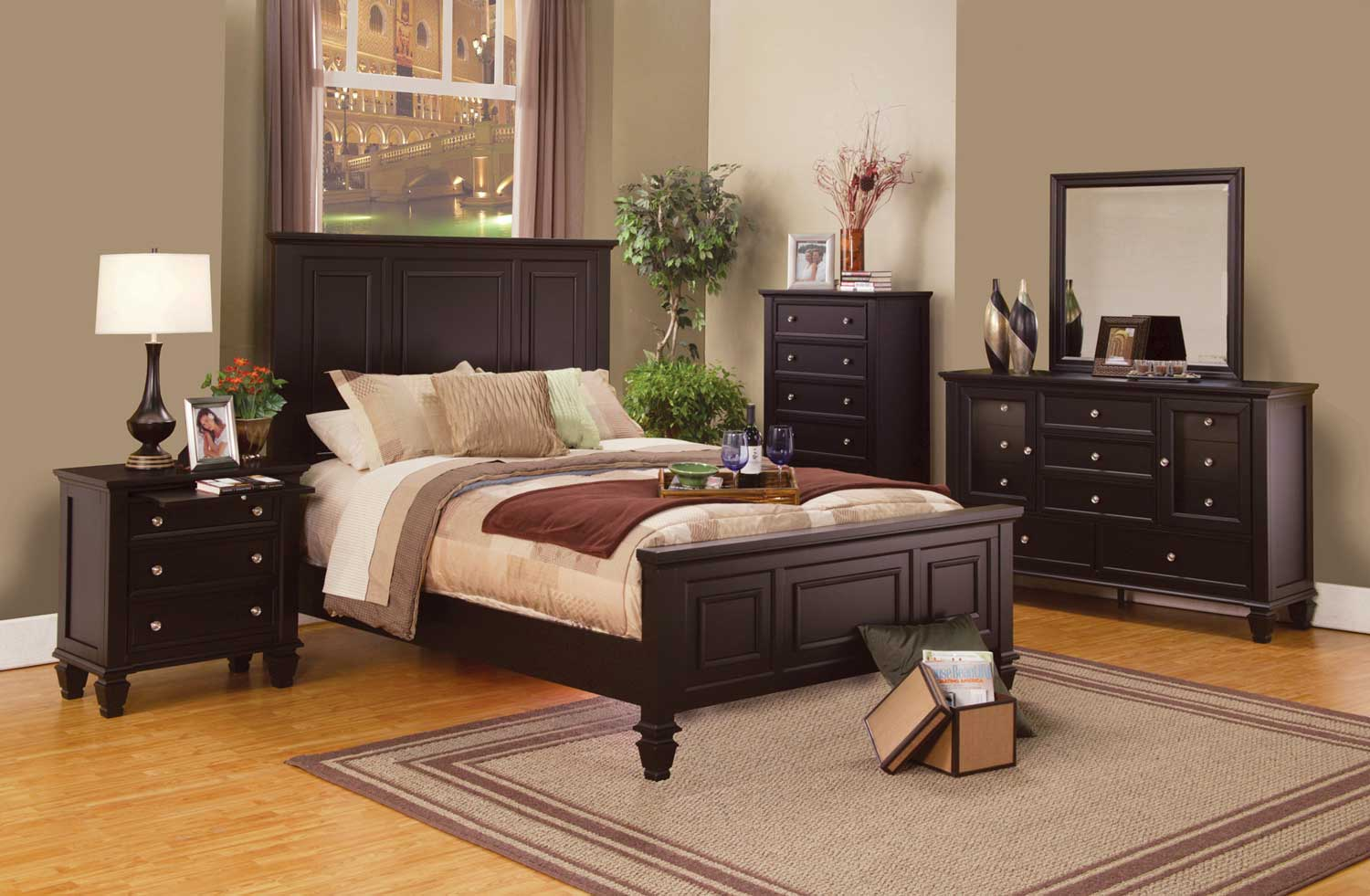 Coaster Sandy Beach Panel Bedroom Set Cappuccino 201991 Panel BedSet At