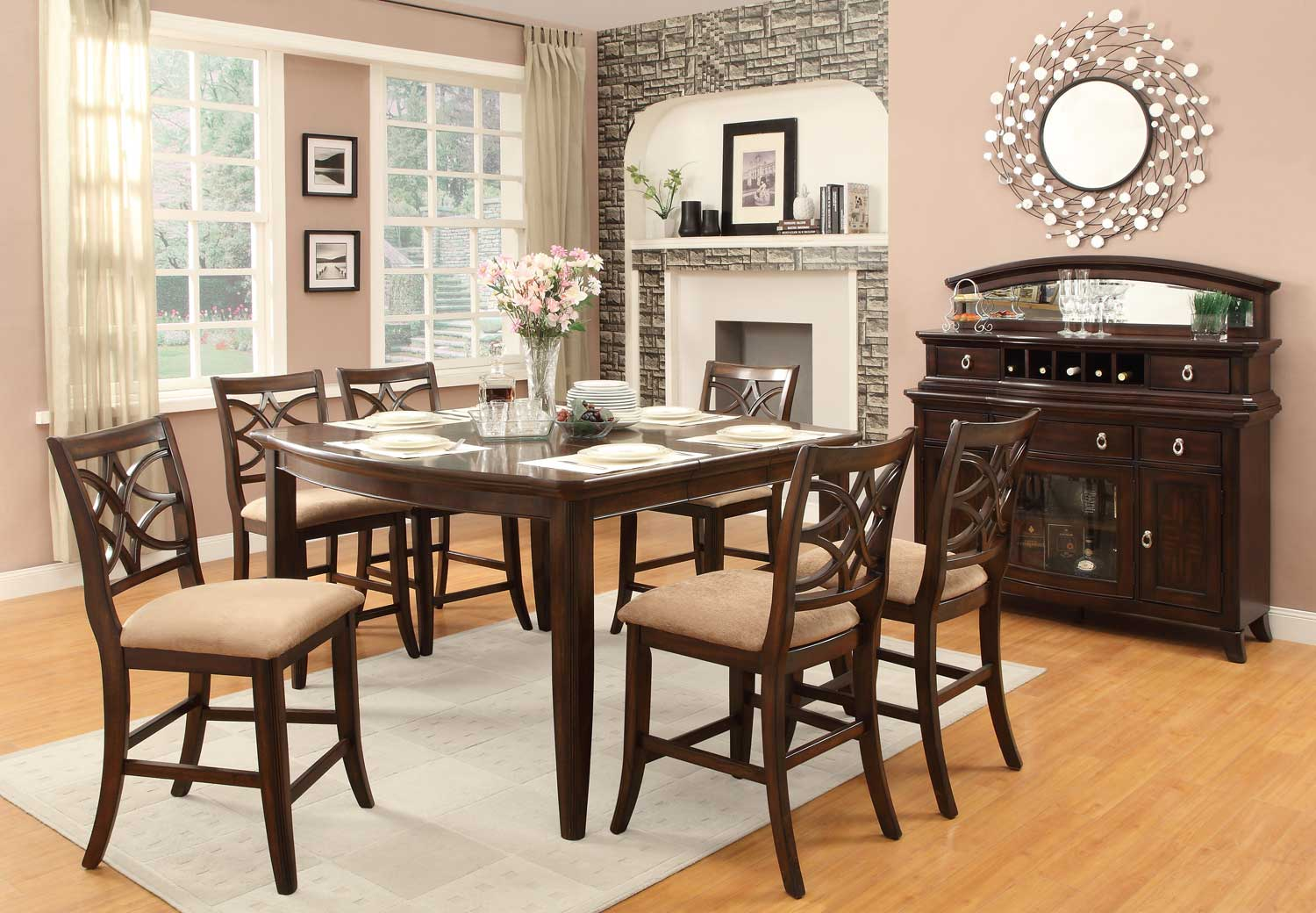 Homelegance Keegan Counter Height Dining Set Neutral Tone Fabric Cherry 2546 36 Din Set At