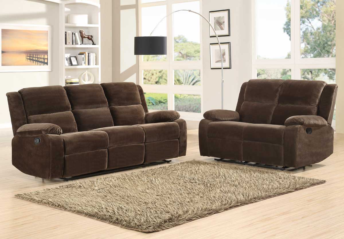 Homelegance Snyder Reclining Sofa Set Coffee Microfiber