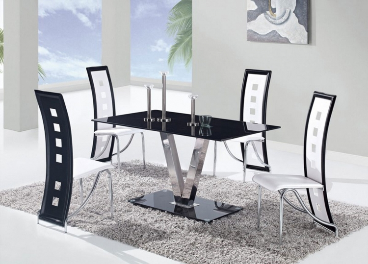 Global Furniture USA Dining Room Furniture   Formal Dining Set     551 Dining Set   Black   Stainless Steel Legs B
