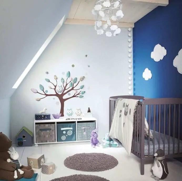 chambre pour bebe garcon tendance bleue