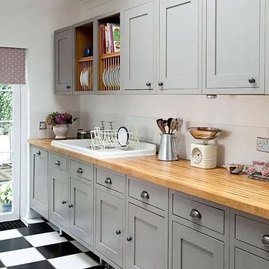cuisine bois plan de travail gris drawing apem. Black Bedroom Furniture Sets. Home Design Ideas