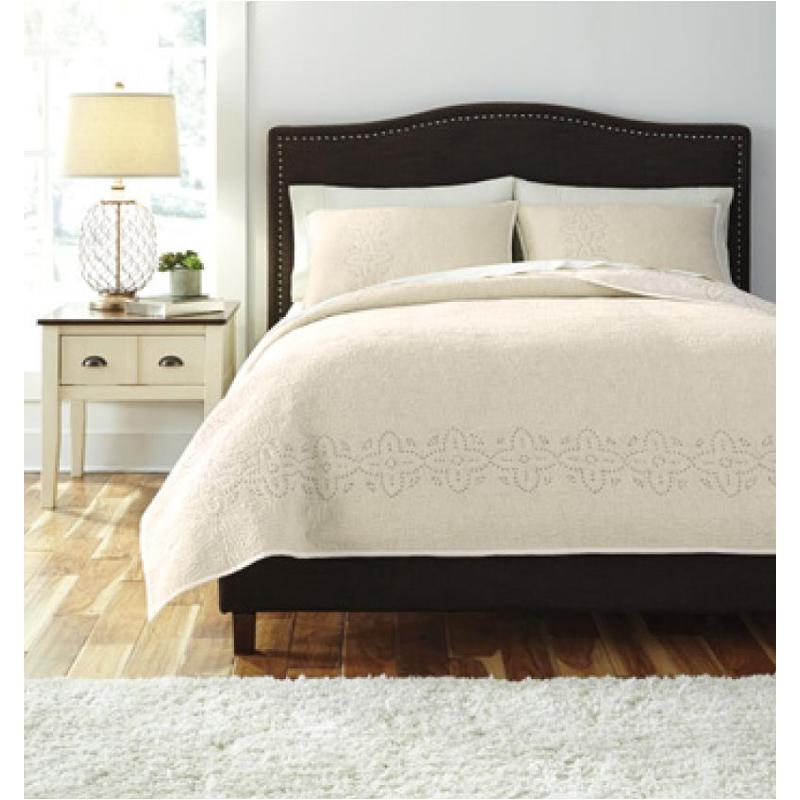 Q470003k Ashley Furniture Stitched Off White King Quilt Set