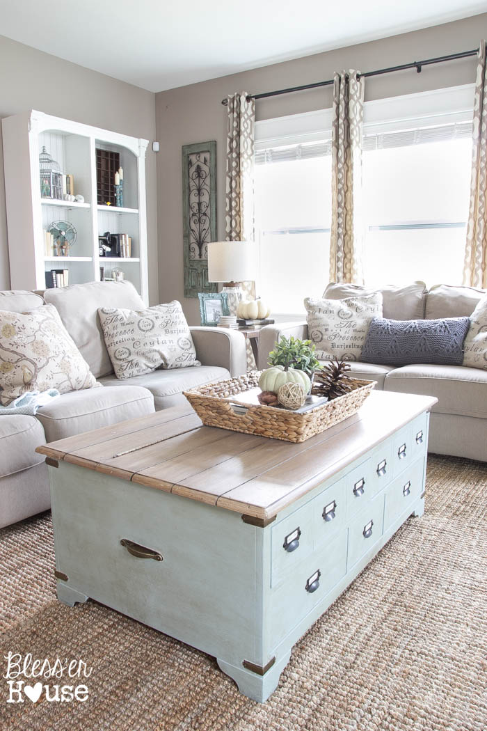 27 Rustic Farmhouse Living Room Decor Ideas for Your Home   Homelovr 21  Light Blue Coffee Table with Internal Storage