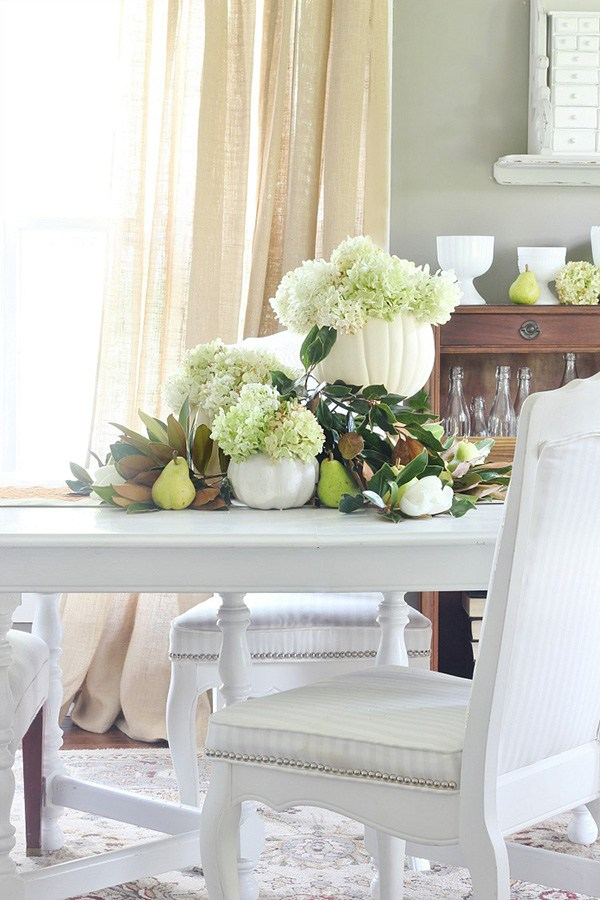 Pumpkins Hydrangea and Pears Decoration