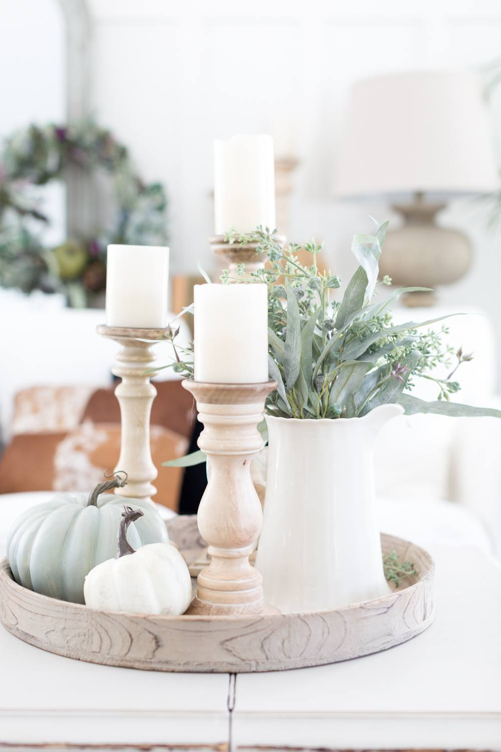 Pumpkins and Candles Table Decor