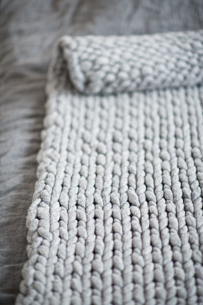Roving Wool Knit Blanket