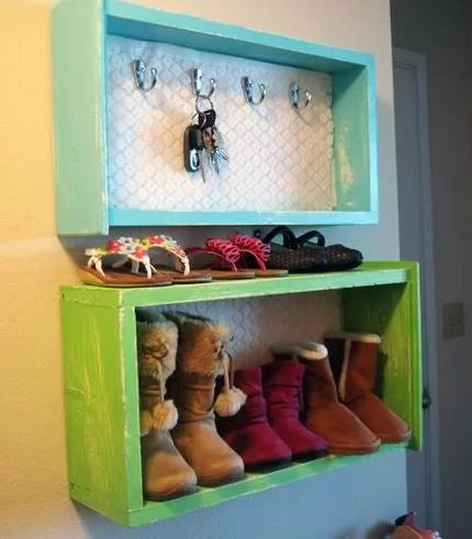 A Great Idea For Entry Way. Give Old Drawers A Paint Job And Hang The Up  Like Such. It Can Be Turned Into A Useful Key Holder And Shoe Rack.