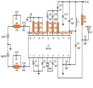Stereo FM Transmitter Circuit using IC BA1404 | Homemade