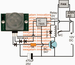 PIR Controlled Fan Circuit for Schools and Colleges | Homemade Circuit Projects
