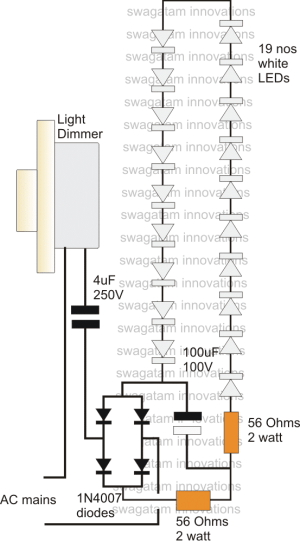 LED Driver Power Supply Circuit Using Dimmer Switch | Homemade Circuit Projects