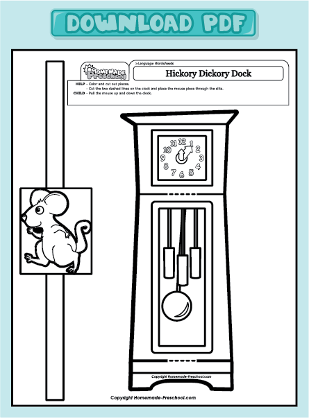 free pages of hickory dickory dock