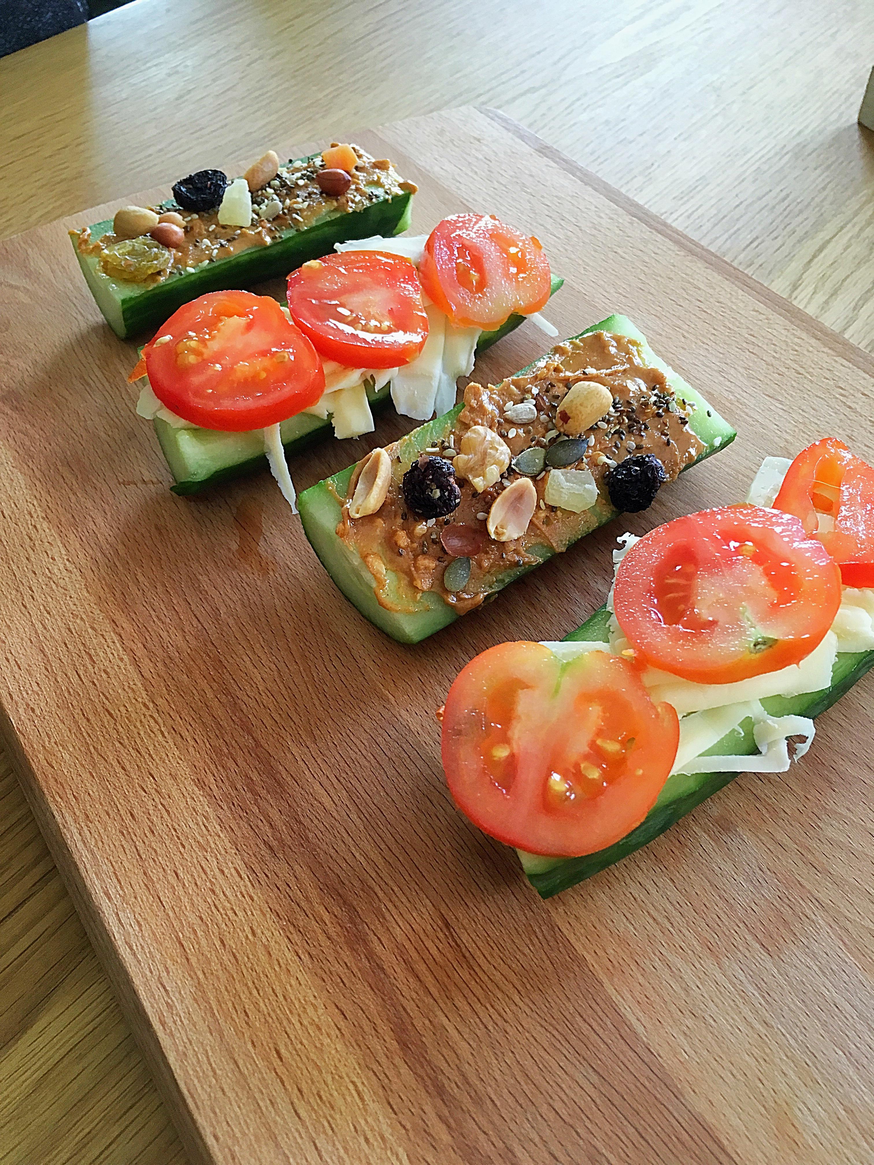 ❤️ Komkommer- gezond & pindakaas bootjes
