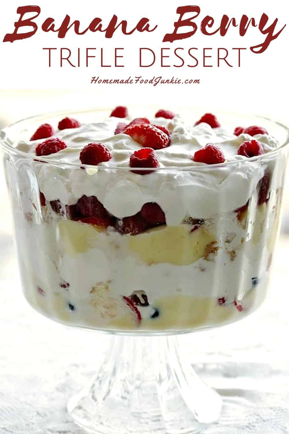 Banana berry trifle dessert-pin image