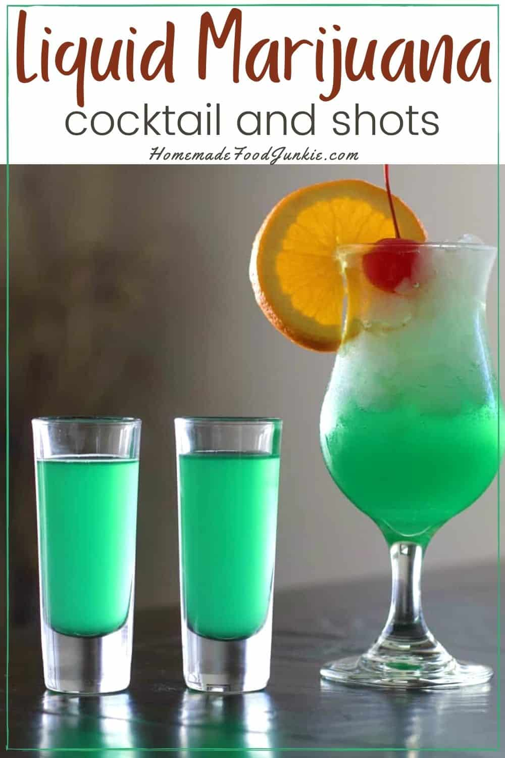 Liquid marijuana cocktail and shots-pin image