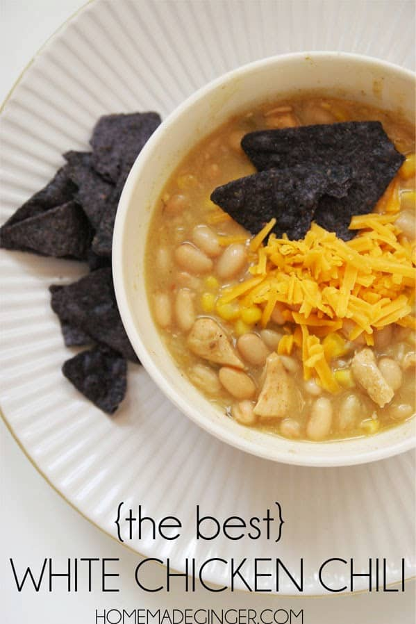 The absolute BEST white chicken chili recipe. It will please a crowd every time!