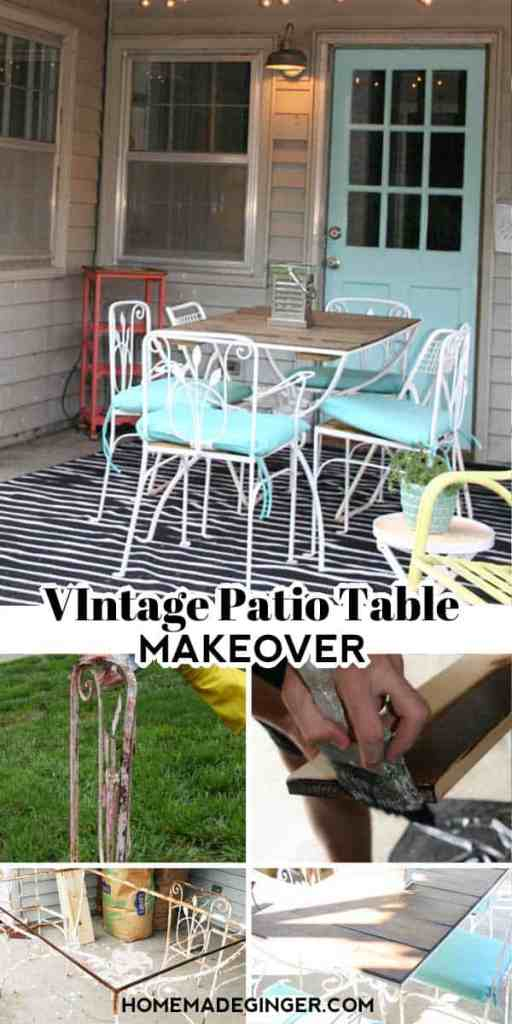Give a vintage patio table a makeover with a rustic wood slat top and a fresh coat of paint. This patio table makeover is easy to do and inexpensive as well. It will freshen up any patio space for a fraction of the cost.