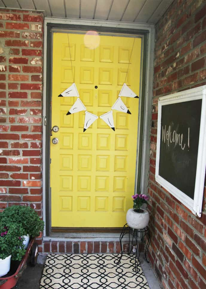 Make a modern wooden bunting to adorn your door for fall!