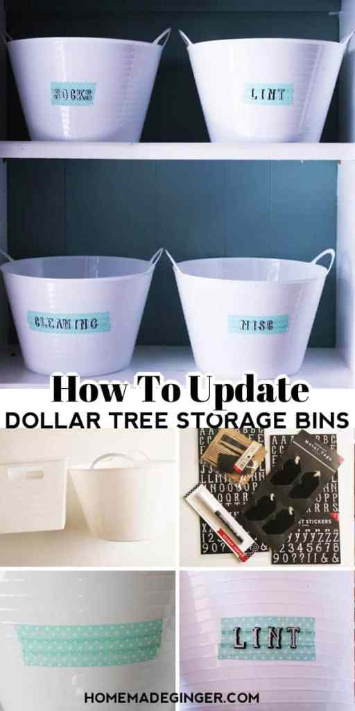 This Dollar Tree storage bin idea is so easy to do. All you need is some washi tape and letter stickers to take your Dollar Tree storage bins to the next level. Adding these labels to your Dollar Tree storage bins will make them look much more expensive than they are and can fit any space that you are wanting to organize.
