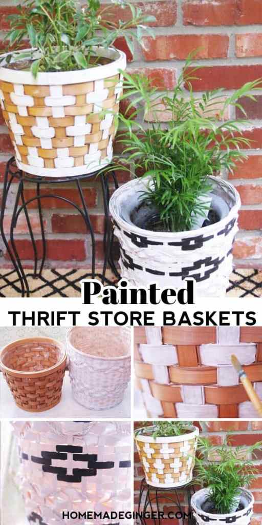 How to paint a thrift store basket? It's so easy to paint simple designs, solid colors or even tribal patterns on a thrift store basket. All you need is some acrylic paint or spray paint to give your thrift store basket a new life.