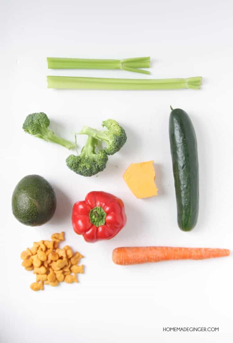 Make chopped salad for kids using their favorite veggies and topping it off with Goldfish! This is a great recipe to get kids excited about eating veggies!