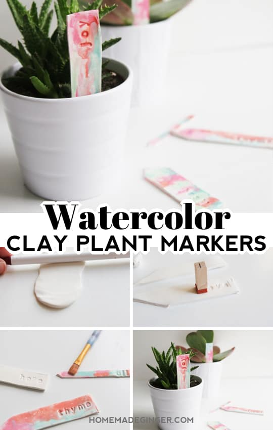 Make some watercolor clay plant markers as a perfect Mother's Day or end of the year teacher gift. This is such an easy polymer clay tutorial!