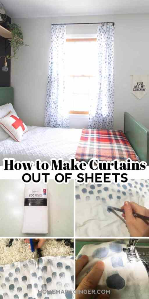 Learn how to make curtains for a kid's room using sheets. This is such an inexpensive way to add custom curtains to your kid's room!