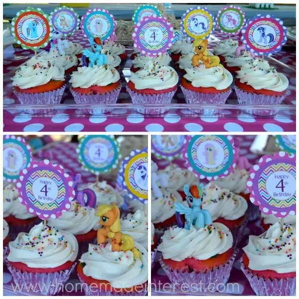 Mylittlepony Cupcake Collage The Cupcakes Were Rainbow Inside And Pony Toppers Just Miniature My Little