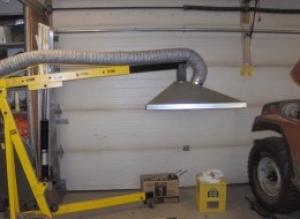 homemade engine crane mounted welding