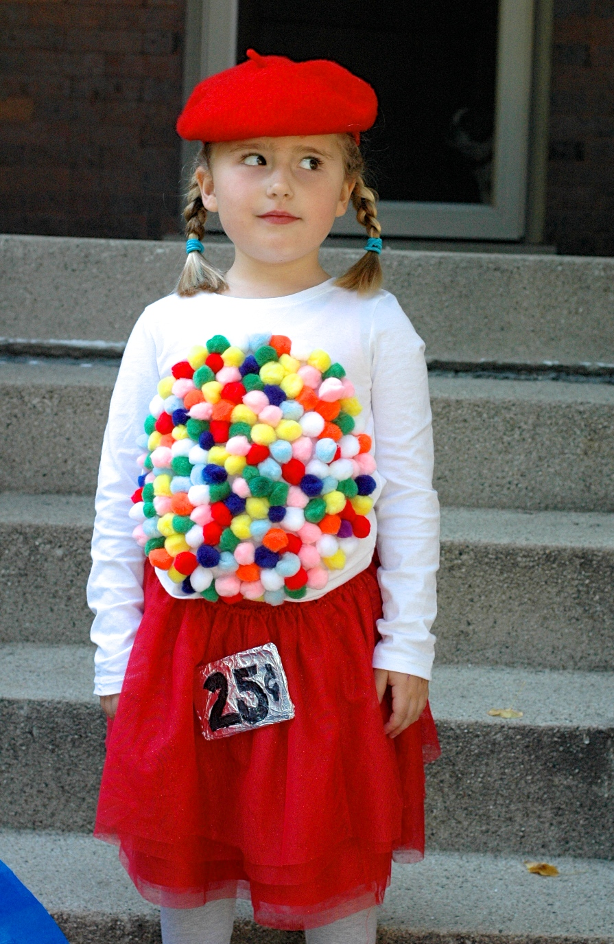 Even better we were able to create her gum ball machine outfit inexpensively mostly using items we already had in the house. The only items we purchased ...  sc 1 st  Homemakeru0027s Habitat & Easy DIY Halloween Costume Idea: Vintage Gumball Machine ...