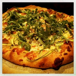 Shaved Asparagus, Arugula & Goat Cheese Pizza