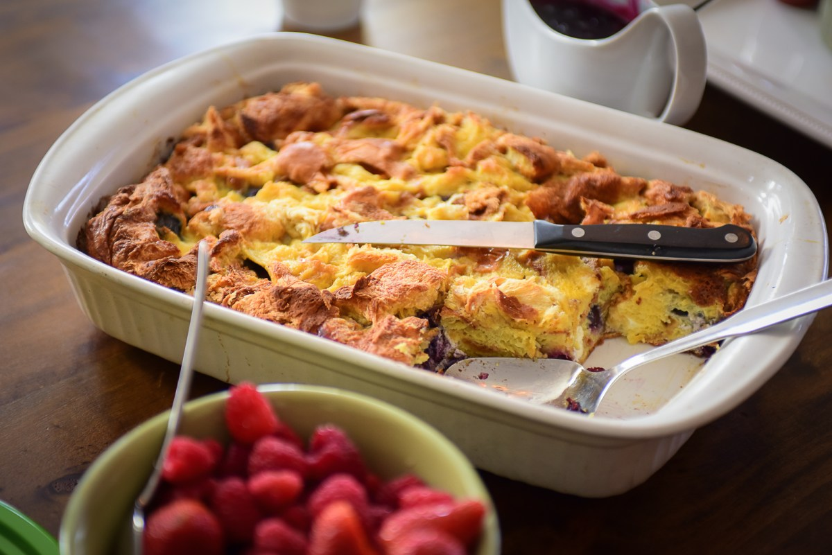 Cream Cheese Studded Blueberry Brioche French Toast Bake