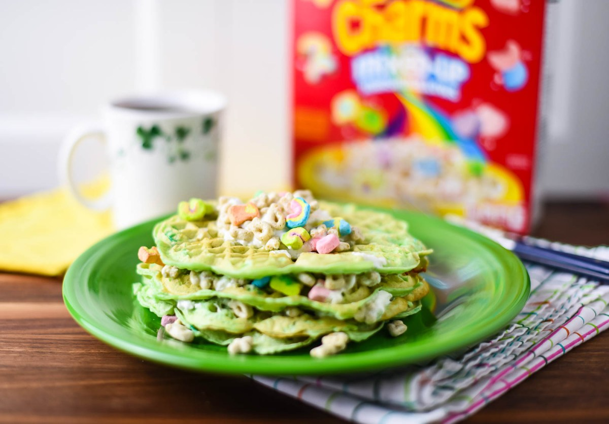 Lucky Charms Shamrock Waffles