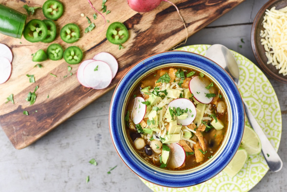 Slow Cooker Chicken and Black Bean Pozole