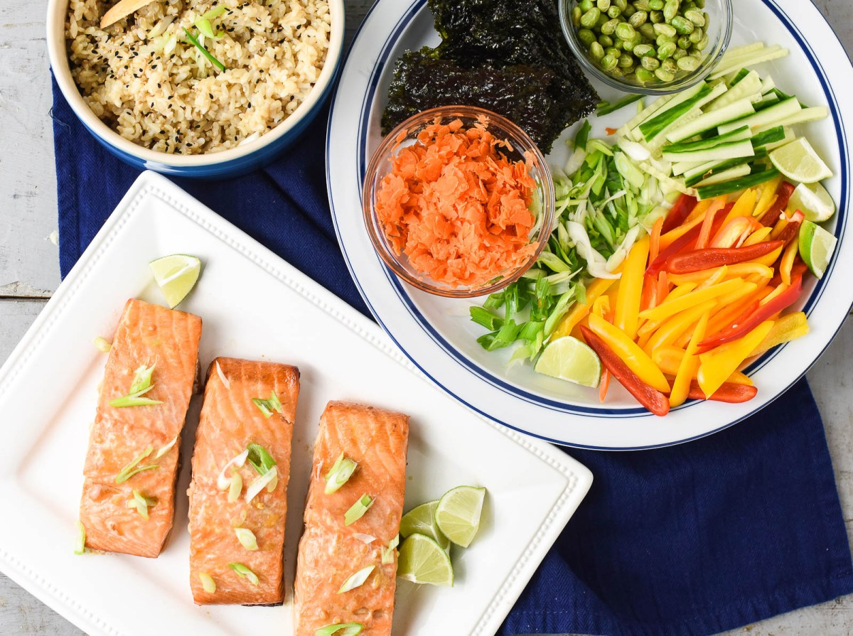 The Best Teriyaki Grilled Salmon In Build-Your-Own Rice Bowls