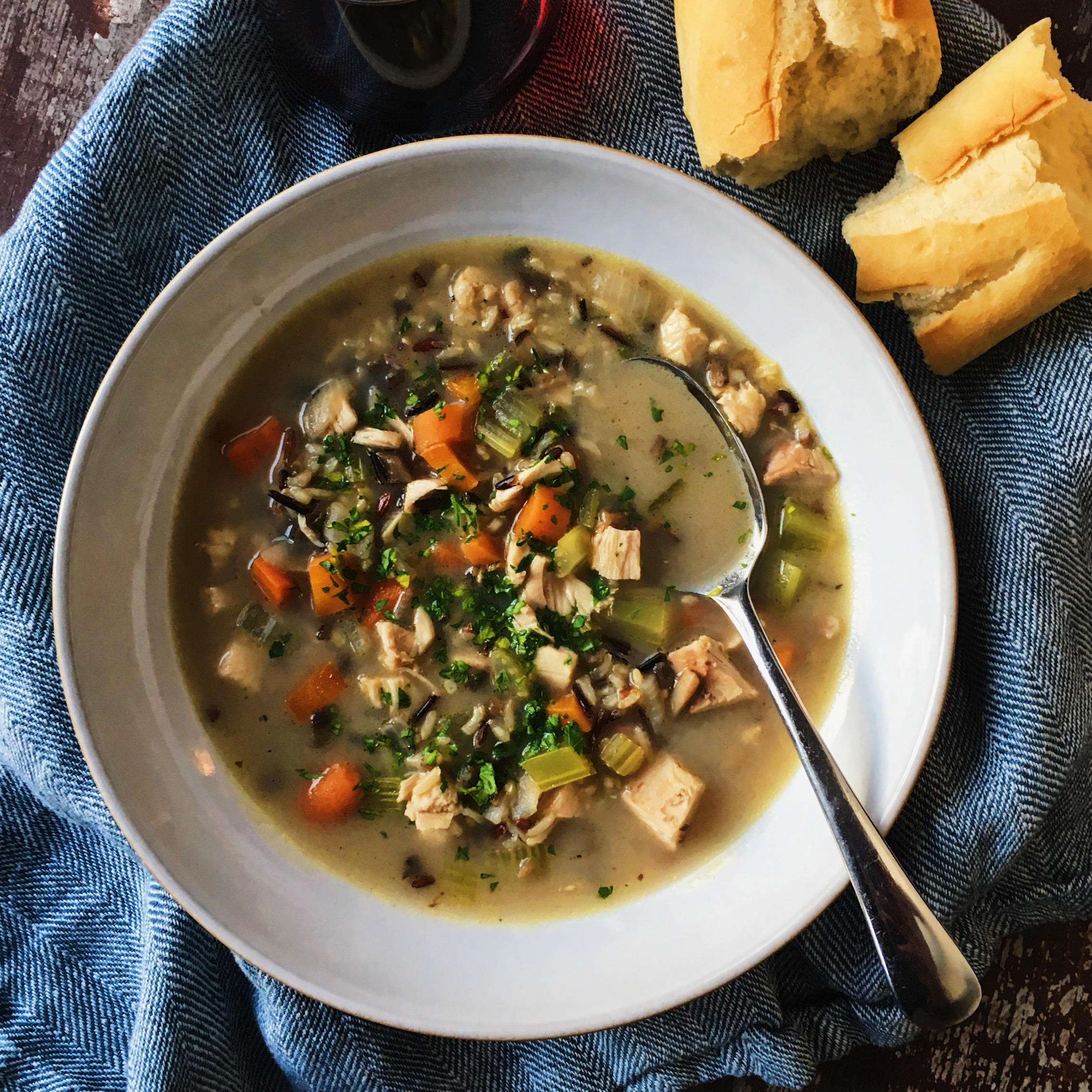 Roasted Chicken, Mushroom and Wild Rice Soup