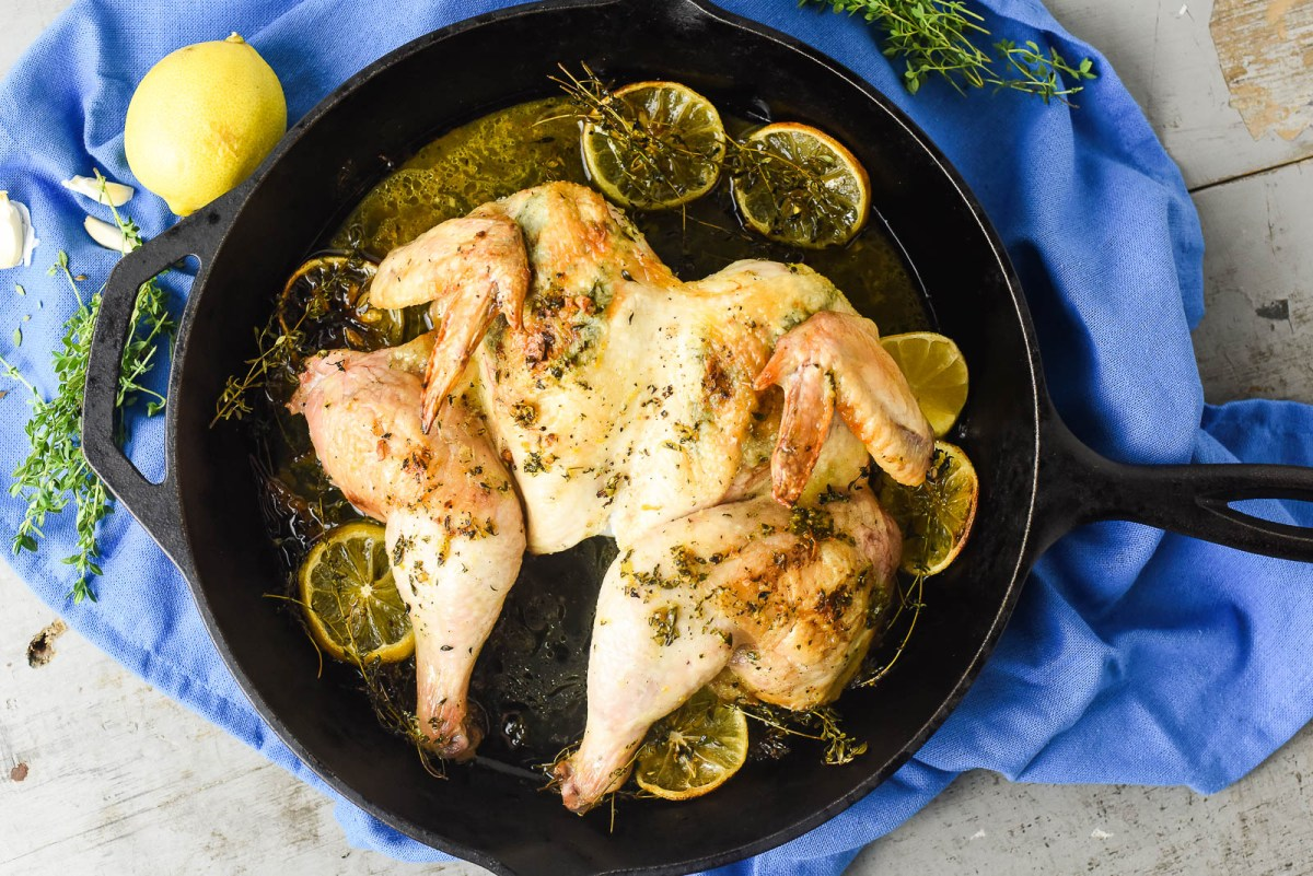 Split Roast Chicken with Lemon and Thyme