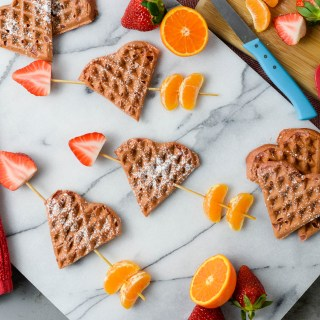 Healthy Cupid's Arrow Heart Waffles