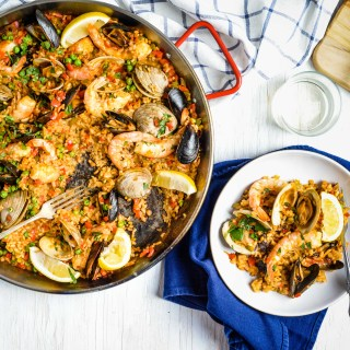 This gorgeous Seafood Paella is a showstopper main dish to serve for holidays and dinner parties but also easy enough to make for a family meal.