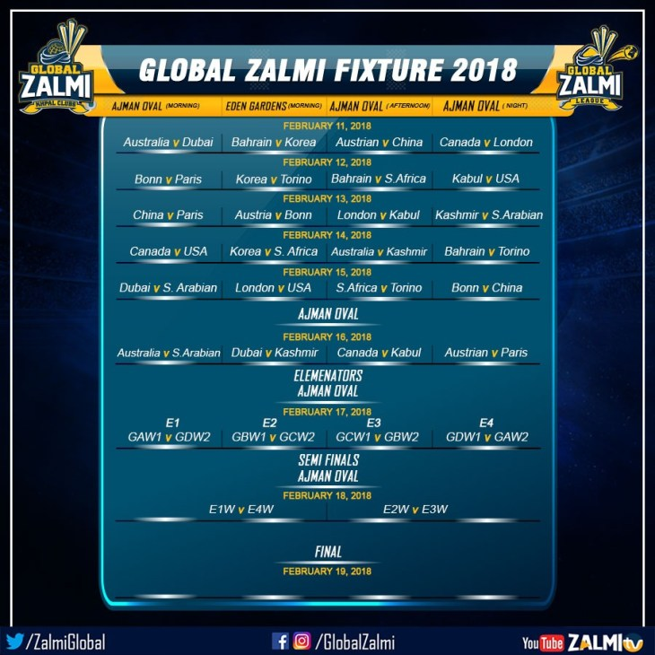 Global Zalmi League 2018 Fixture