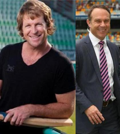 Michael Slater and Jonty Rhodes