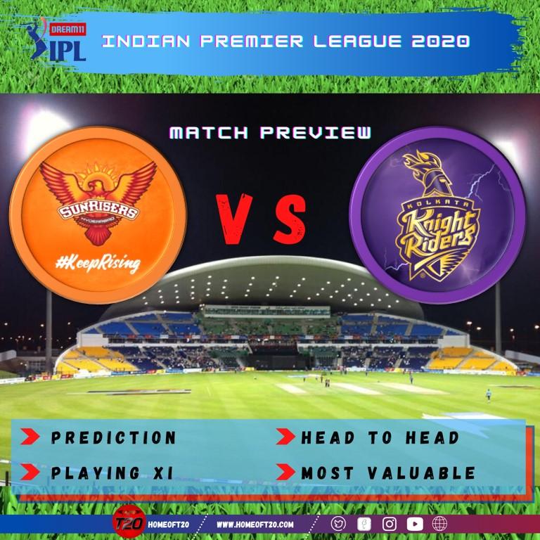 IPL 2020 Match 8 Kolkata Knight Riders vs Sunrisers Hyderabad