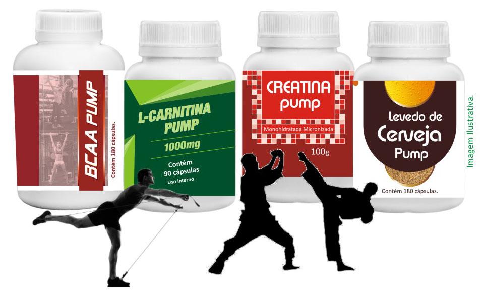BCAA Pump, L-Carnitina Pump, Creatina Pump, Levedo de Cerveja Pump