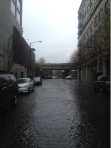 Cold rainy street picture from Portland