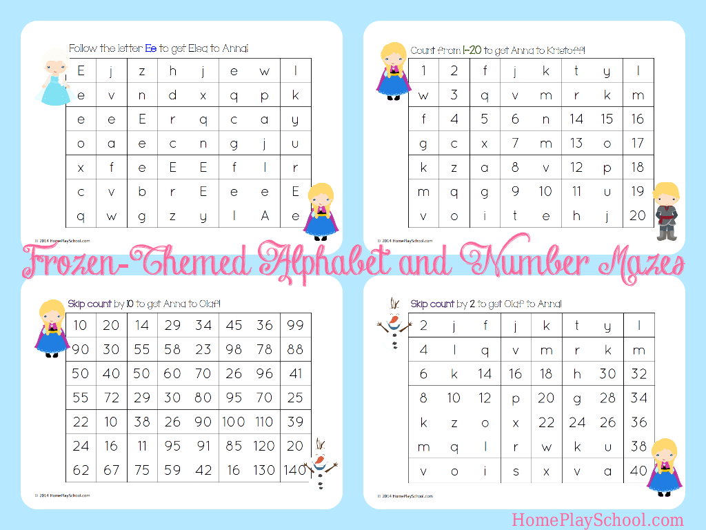 Free Printable Frozen Themed Alphabet And Number Mazes