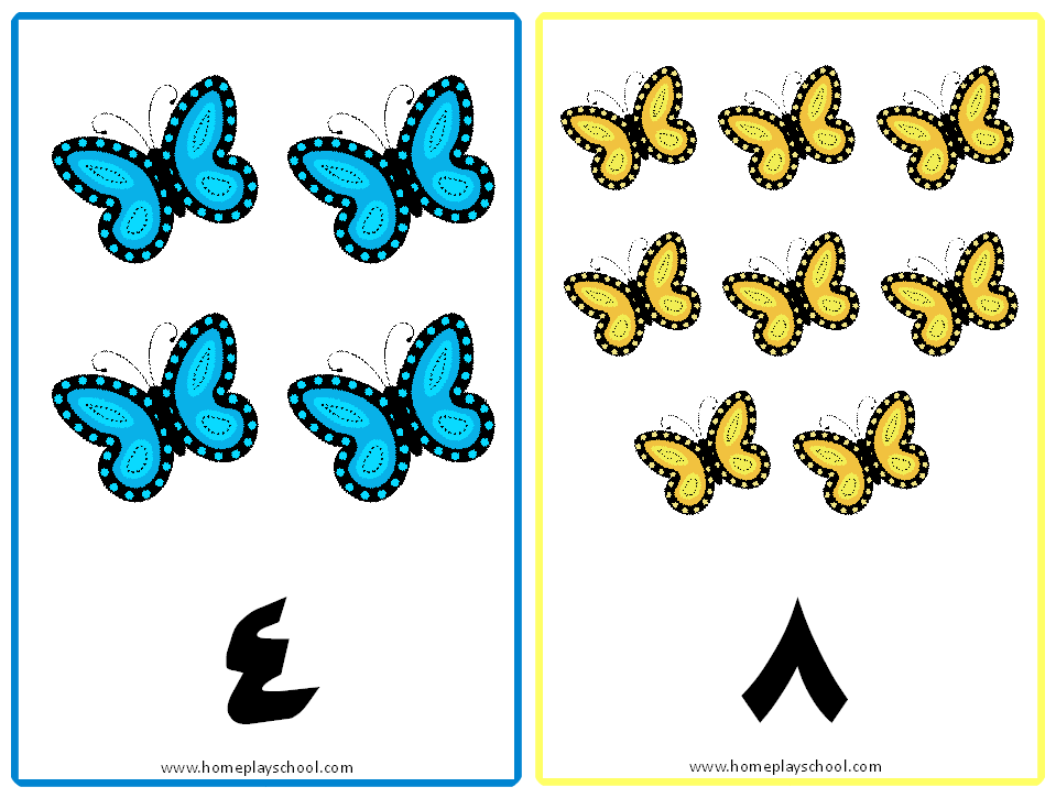 Free Printable: Arabic Numbers 1-10 Butterfly-Themed ...