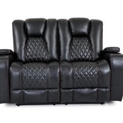 Cheers Black Fabric Dual Power Loveseat