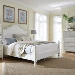 Staged photo of Aspen Home Retreat King Poster Bedroom Set in Chalk