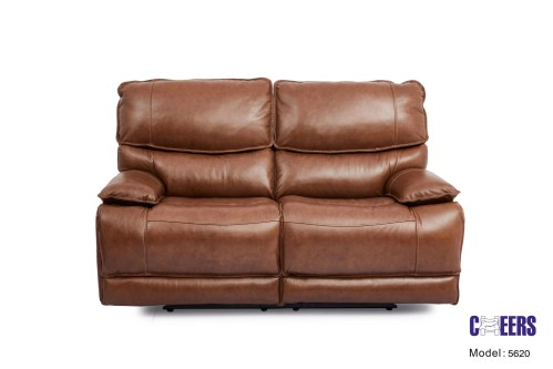 Cheers Leather Dual Power Motion Loveseat in Brown